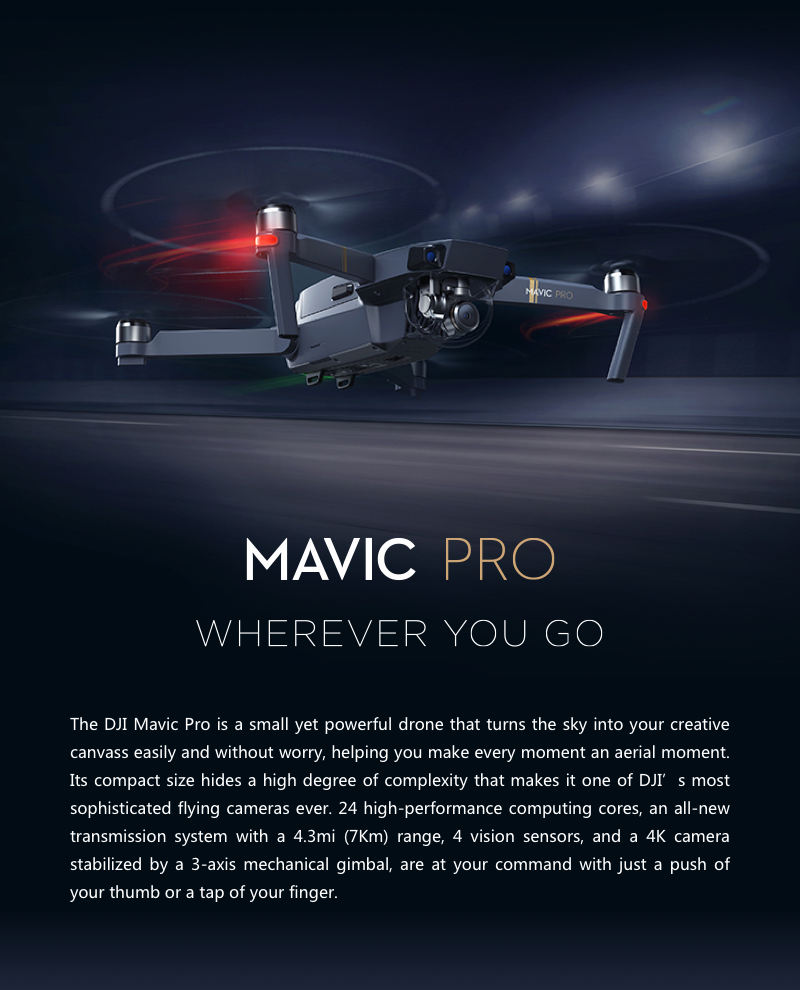DJI Mavic Pro Foldable FPV Drone with Camera, Only $1039