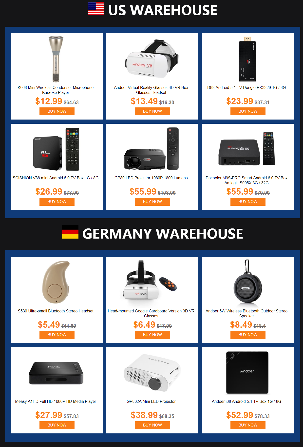 US DE warehouse clearance tomtop