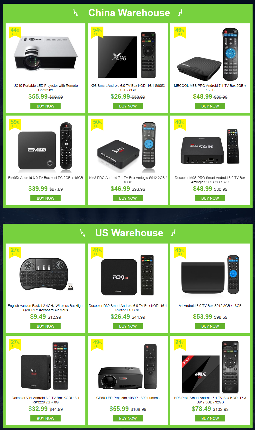 2018 Android TV Box Clearance, CN, US, DE, UK Warehouse with Big Discount