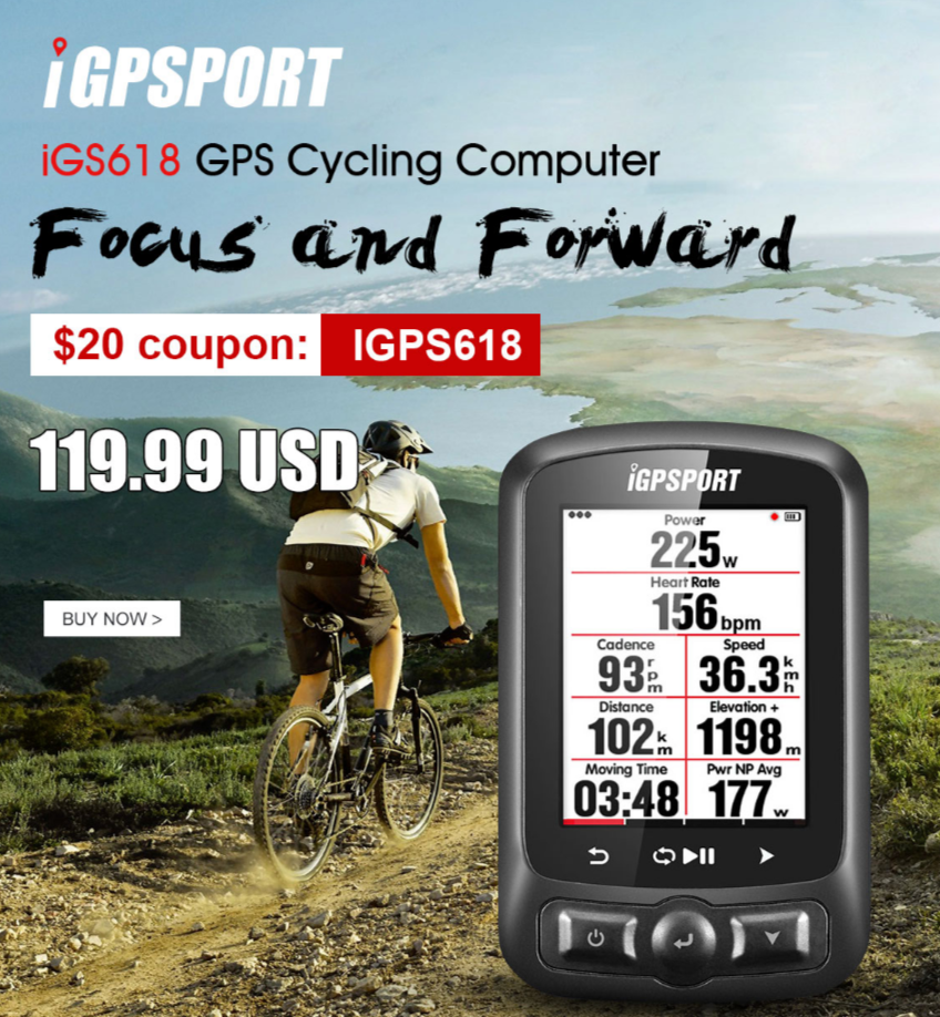 iGPSPORT IGS618 GPS Cycling Computer Promotional Sale, Only $119.99 | Tomtop