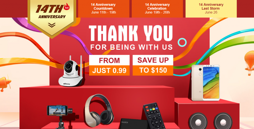 Tomtop 14th Anniversary Last Sale Storm, Save Up to $150, From $0.99