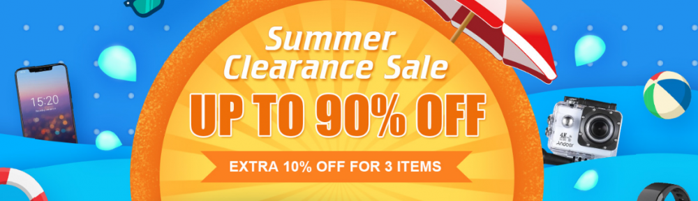 2018 Summer Clearance Sale, Extra 10% Off for 3 Items, Up To 90% Off